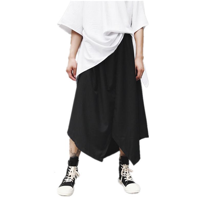 Compre Los Hombres Estilo Japón Falda Pantalón Discoteca Cantante Traje  Etapa Joggers Mens Casual Hip Hop Punk Pantalones Sueltos Harem Pantalones  A  41.58 ... f5dbc2c3ffa