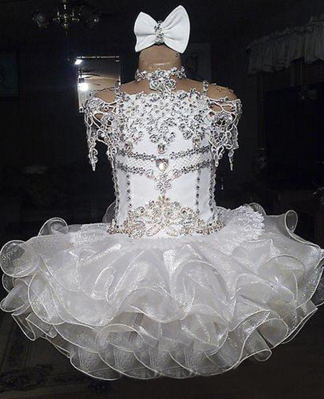Encaje blanco con cuentas halter manga corta arco organza vestido de bola magdalena niño niñas desfile vestidos floristas para bodas