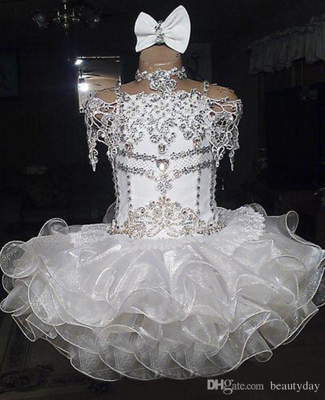 Laço branco frisado halter manga curta arco organza vestido de baile bolinho da criança meninas pageant vestidos de flores meninas para casamentos glitz