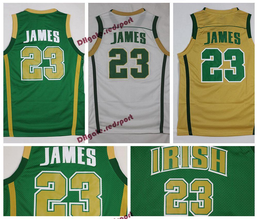 66a311c09e35 2019 Mens LeBron James St. Vincent Mary High School Irish Jerseys  Basketball Shirts LeBron James  23 Stitched Jerseys Green Gold Shirts From  Redsport