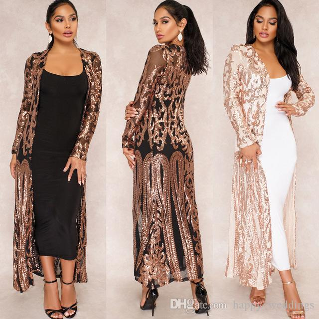 536f5ffde19bb7 2019 2018 Spring Lace Cardigan Sequin Mesh Long Women Tops Jacket Casual  Coats Latex Pant Set Windbreaker Sexy Party Cardigan Coat From  Happy_weddings, ...