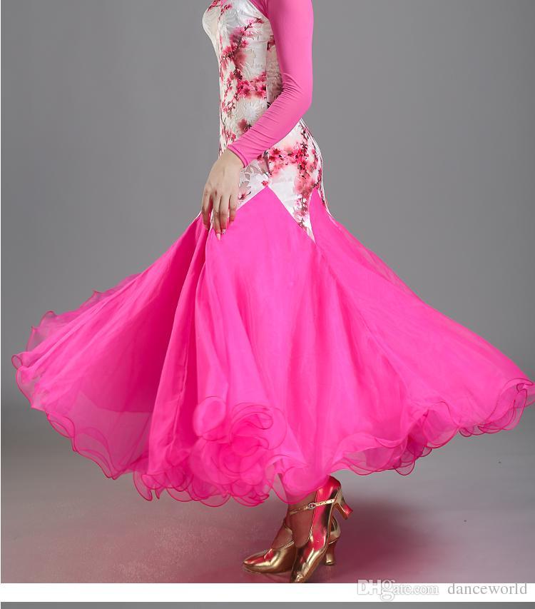 4 renkler beyaz balo salonu elbise kadın balo vals elbiseler Lady balo salonu dans elbise vals dans kostümleri dans flamenko giyim giymek