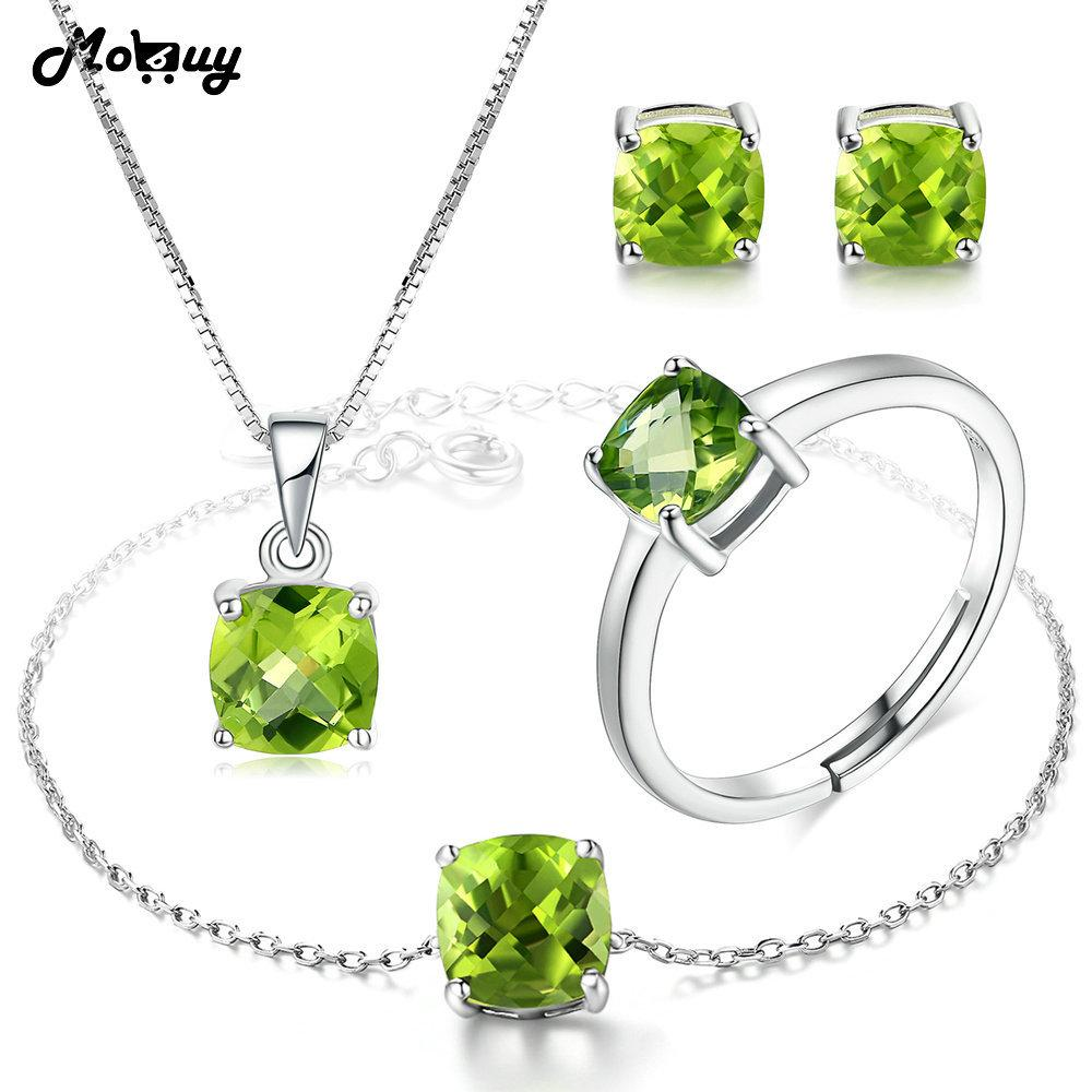 MoBuy Natural Gemstone Green Peridot 4pcs Jewelry Sets 100% 925 Sterling Silver For Women & Girls Fine Jewelry V018EHNR S18101508