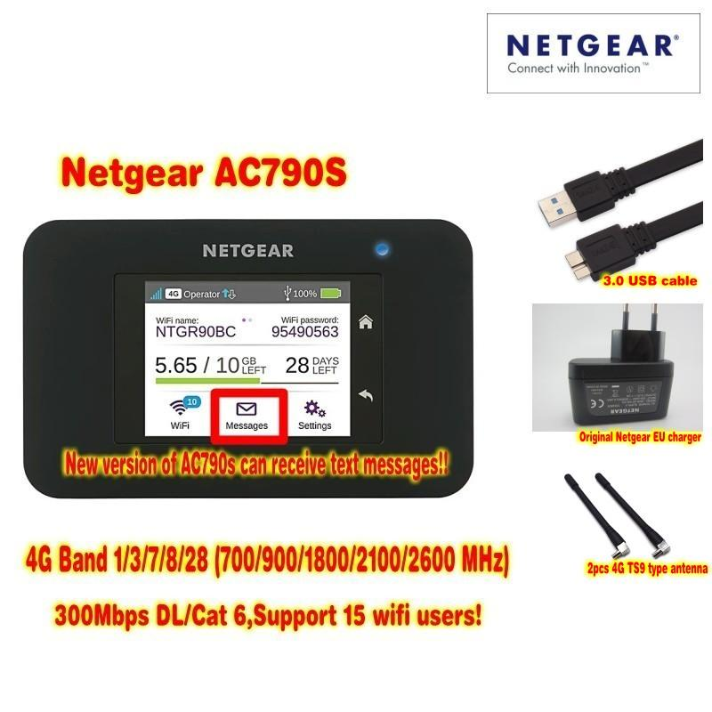 Unlocked Netgear Aircard 790s (AC790S) 300Mbps 4G Mobile Hotspot wifi  Router Plus A pair antenna