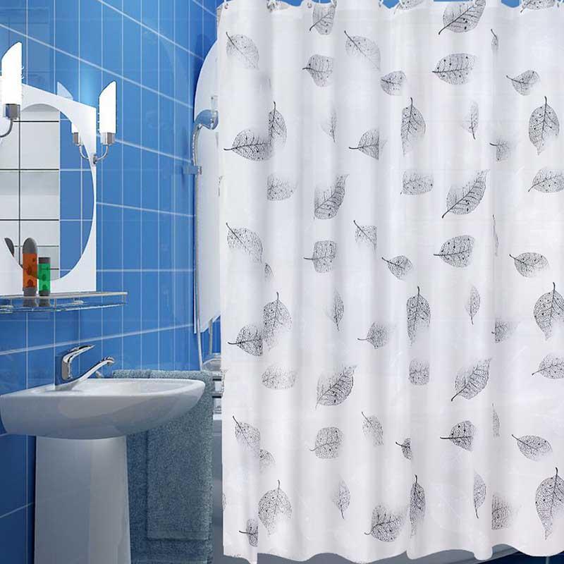 2018 Eco Friendly PEVA Bathroom Shower Curtains Waterproof Mildewproof Bath Curtain Leaves Pattern With Hooks From Sheiler 3783