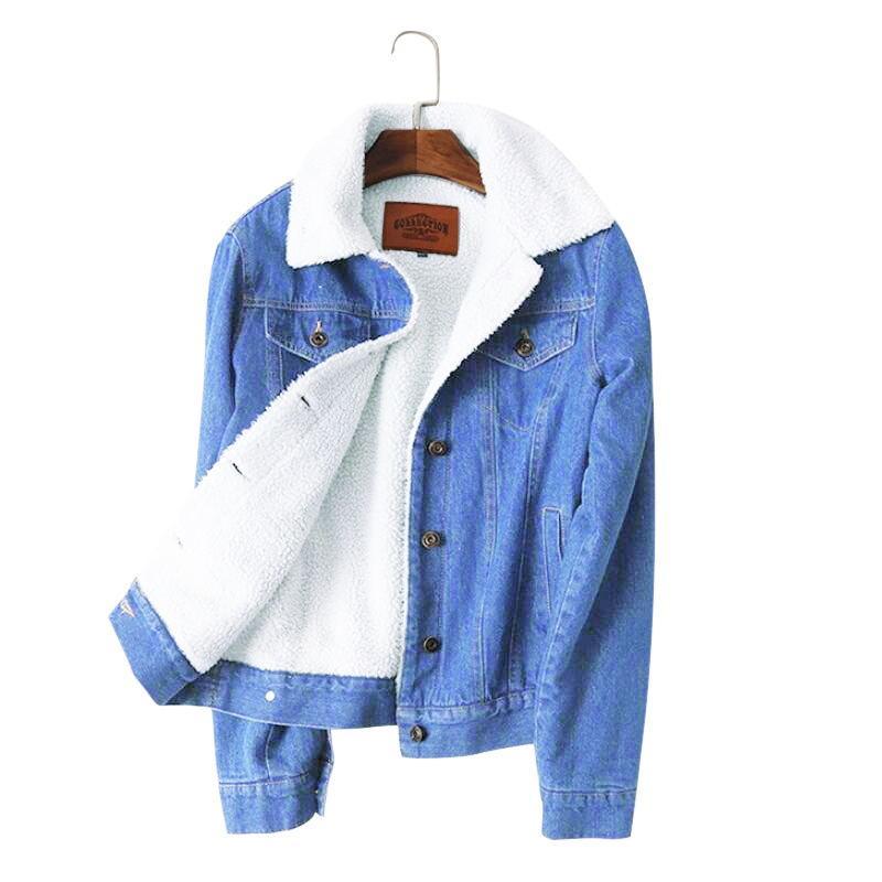 22f6cdbc7ef8 Compre Jaqueta Feminina Inverno Quente Jaqueta Jeans Para O Sexo Feminino  2018 Novo Inverno Forro De Lã Jeans Casaco Mulheres Jaquetas Bomber Casaco  ...
