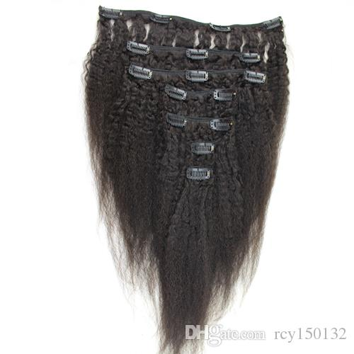 And 120g Coarse Yaki Machine Made Remy Kinky straight Clip In Human Hair Extensions 100% Human Hair Natural Black