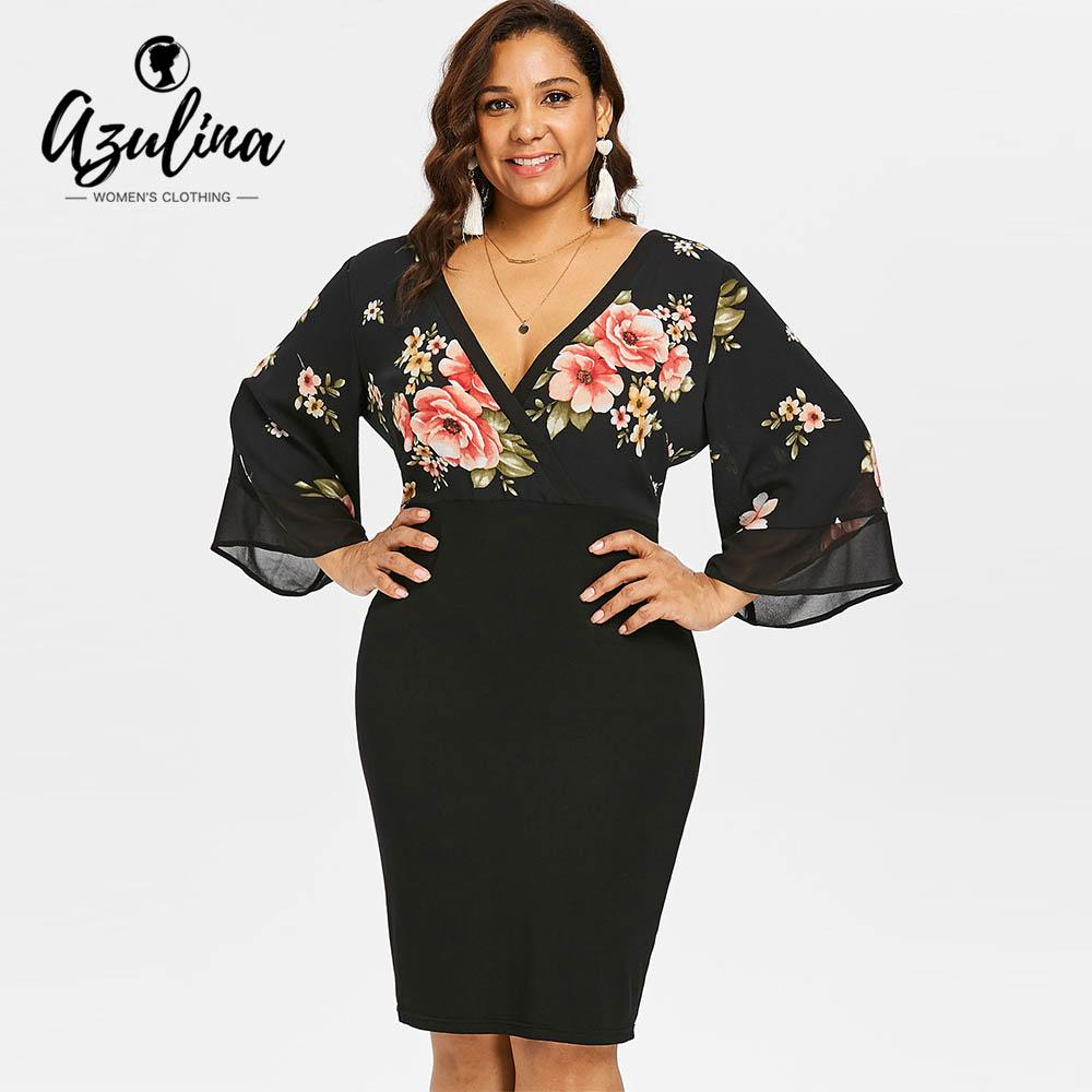 6b4aa8ea30 AZULINA Plus Size Bell Sleeve Low Cut Floral Bodycon Dress Women Plunging  Neck 3 4 Sleeve Summer Dresses Party OL Dress Vestidos UK 2019 From  Lichee666