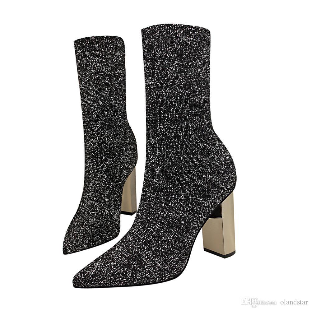 de2ffaa522892 Compre Moda Senhora Meia Bota Sapatos De Vestido Sapatos De Salto Alto  Sapatos De Festa De Casamento Sapatos De Salto Alto Bombas Formais Mulheres  Saltos ...