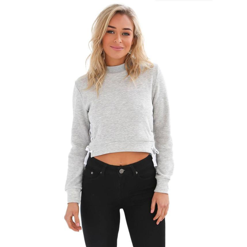 Women Short Pullover Solid Color Hallow Out Bandage Jumper Autmun Long  Sleeve Sweatshirt Crop Top #BF