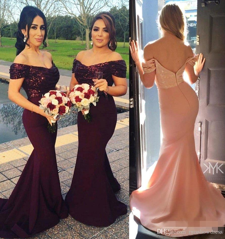 37b285def9a 2018 Elegant Off The Shoulder Sequined Mermaid Long Bridesmaid Dresses  Satin Ruched Formal Party Wedding Guest Maid Of Honor Dresses BA3962 Plum  Colored ...