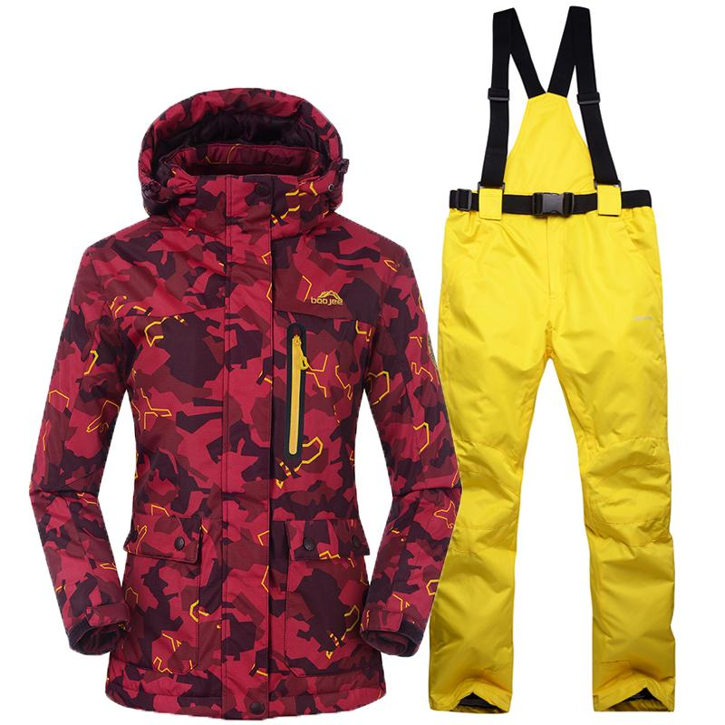 Snowboarding Sets Women Skiing Suits Jackets Pants Women Winter ... e11fd1f0c