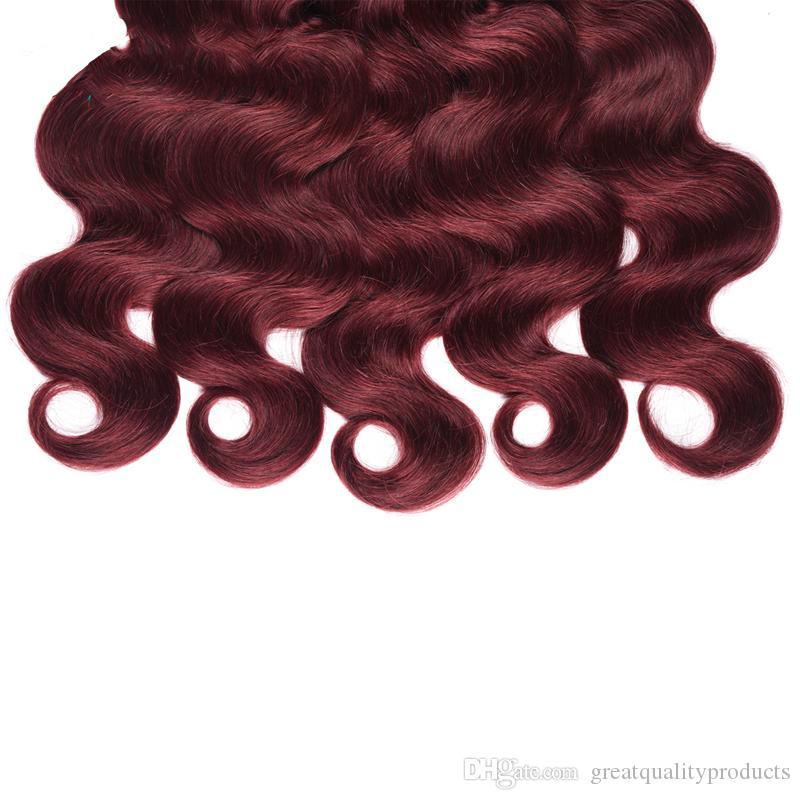 Sınıf 10 Brezilyalı Vücut Dalga 4 Paketler / 99j Saf Renkli Bakire Saç 100% İnsan Saç Dokuma Paketler Remy Saç uzatma