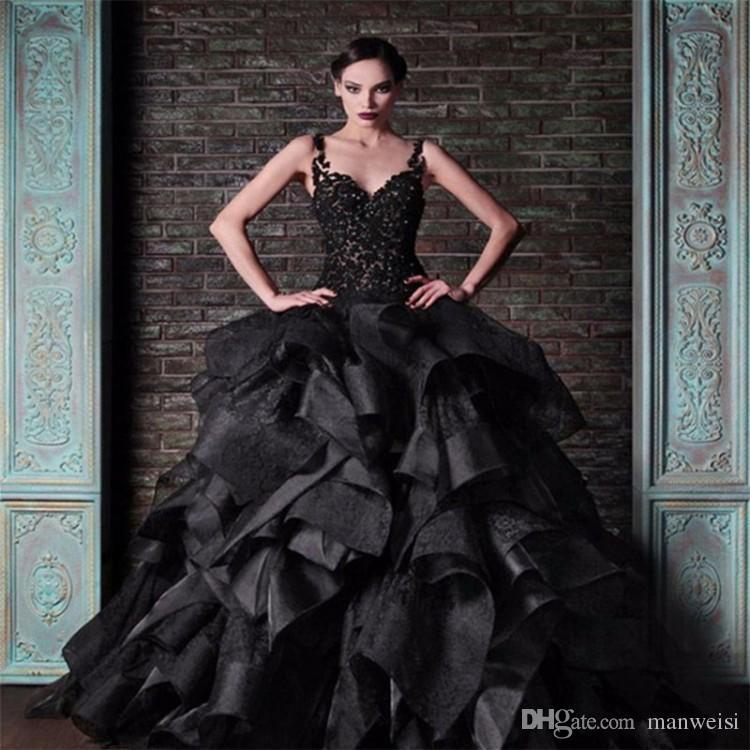 Rami Kadi Black Ball Gown Prom Dresses Spaghetti Straps Vintage Lace