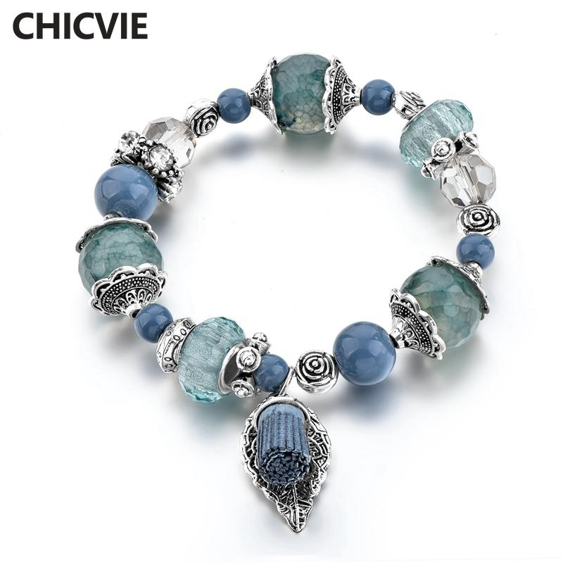 CHICVIE Blue Color Leaves Stainless Steel Bracelets   Bangles Charms ... 74a483194