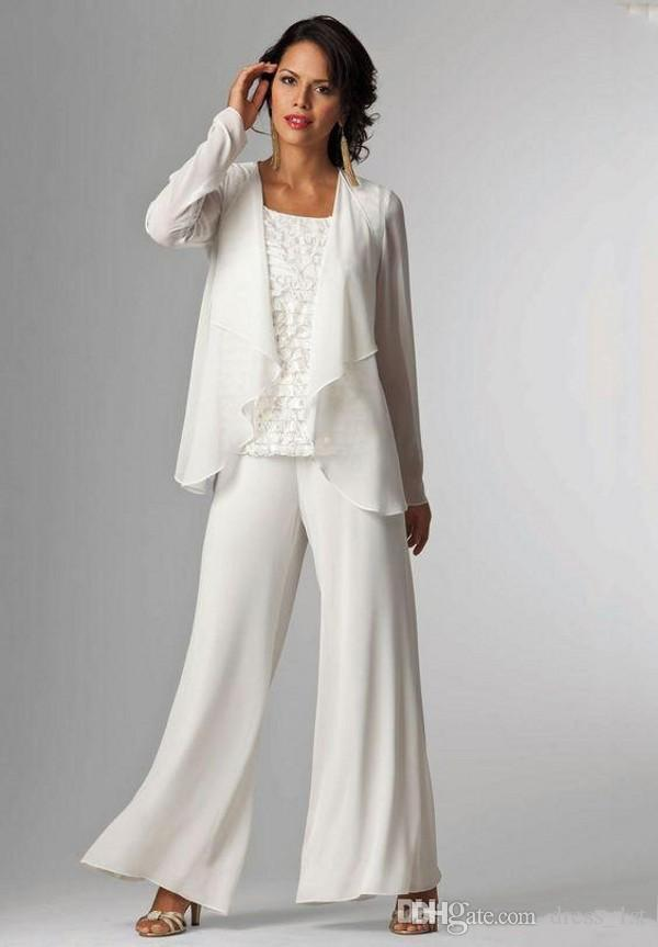 Elegant 2018 Mother of The Bride Pant Suits with Jacket Scoop Neck Full Length Ivory Lace and Chiffon Mother of The Bride Dress