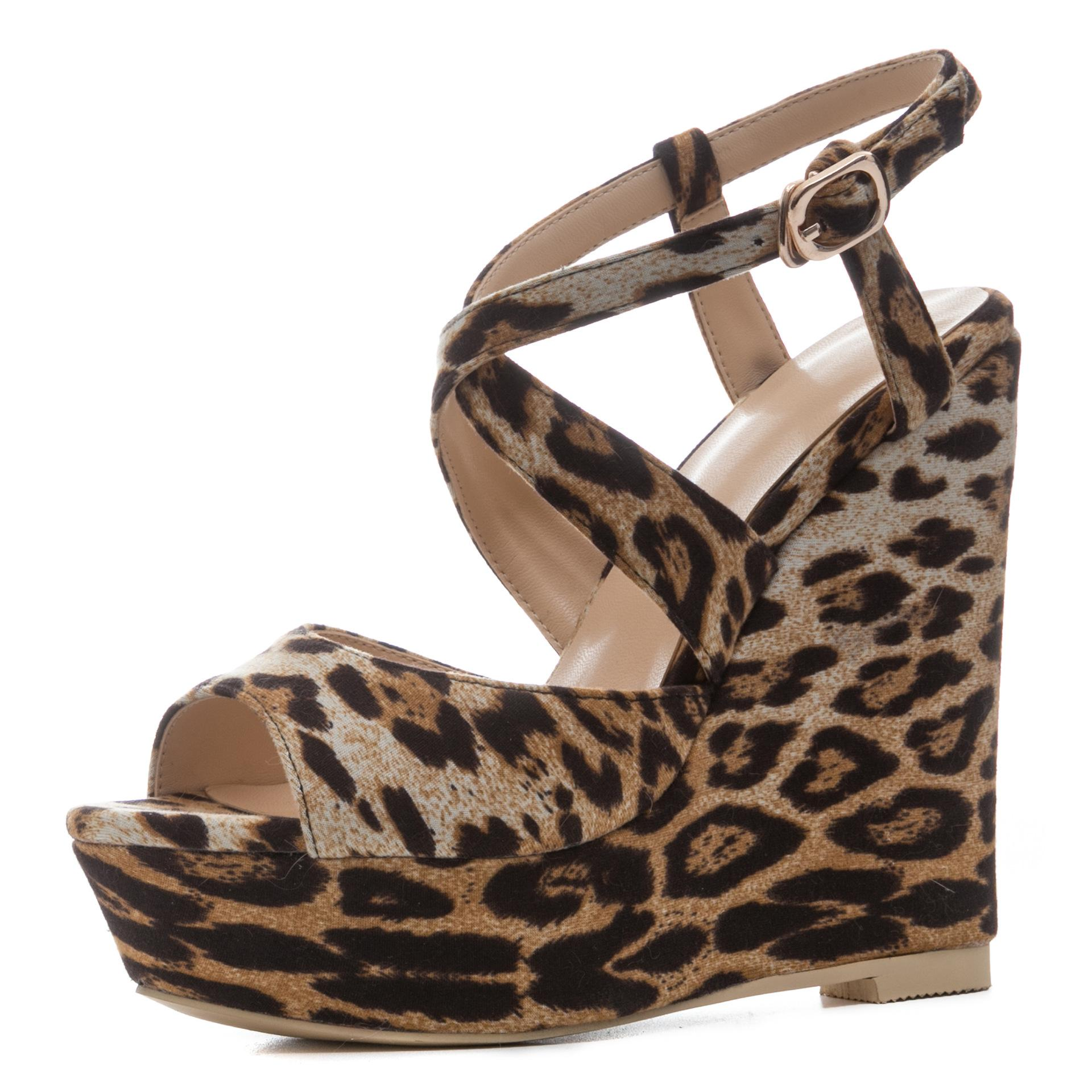 2ec1fef43f Compre Cunha Mulheres Sandálias Zapatos Mujer Moda Verão Sapatos De  Plataforma Leopardo Sexy Cross Strap Salto Alto Mulheres Sandálias Sandalias  De Yigu009