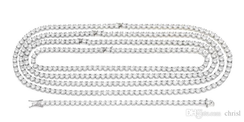 ICED OUT Stainless Steel Tennis Necklace6mm Width 18/20/22/24inch Micro Paved Cubic Zircon Hip Hop Mens JEWELRY