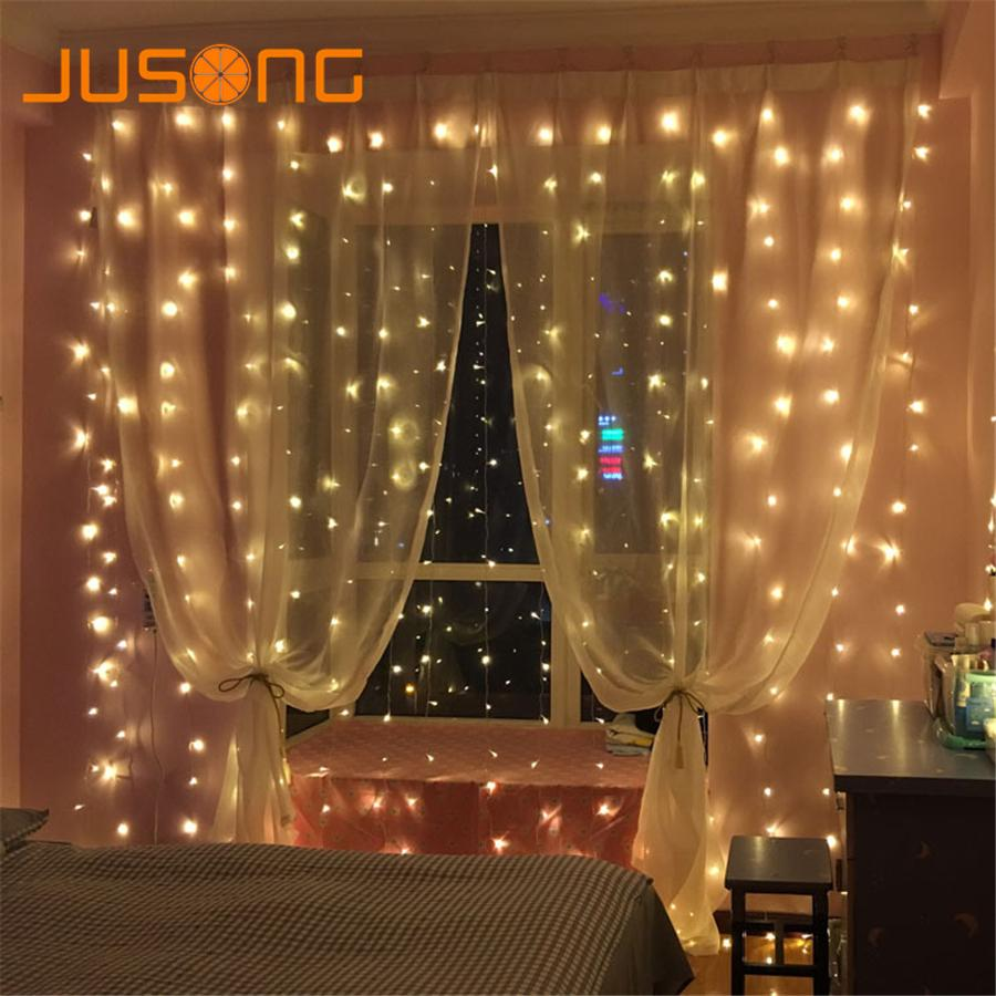 Jusong 3x3m 2x2m Christmas Curtain Lights Garlands Led String Christmas Net  Lights Fairy Xmas Party Garden Wedding Decoration Camping String Lights  String ...