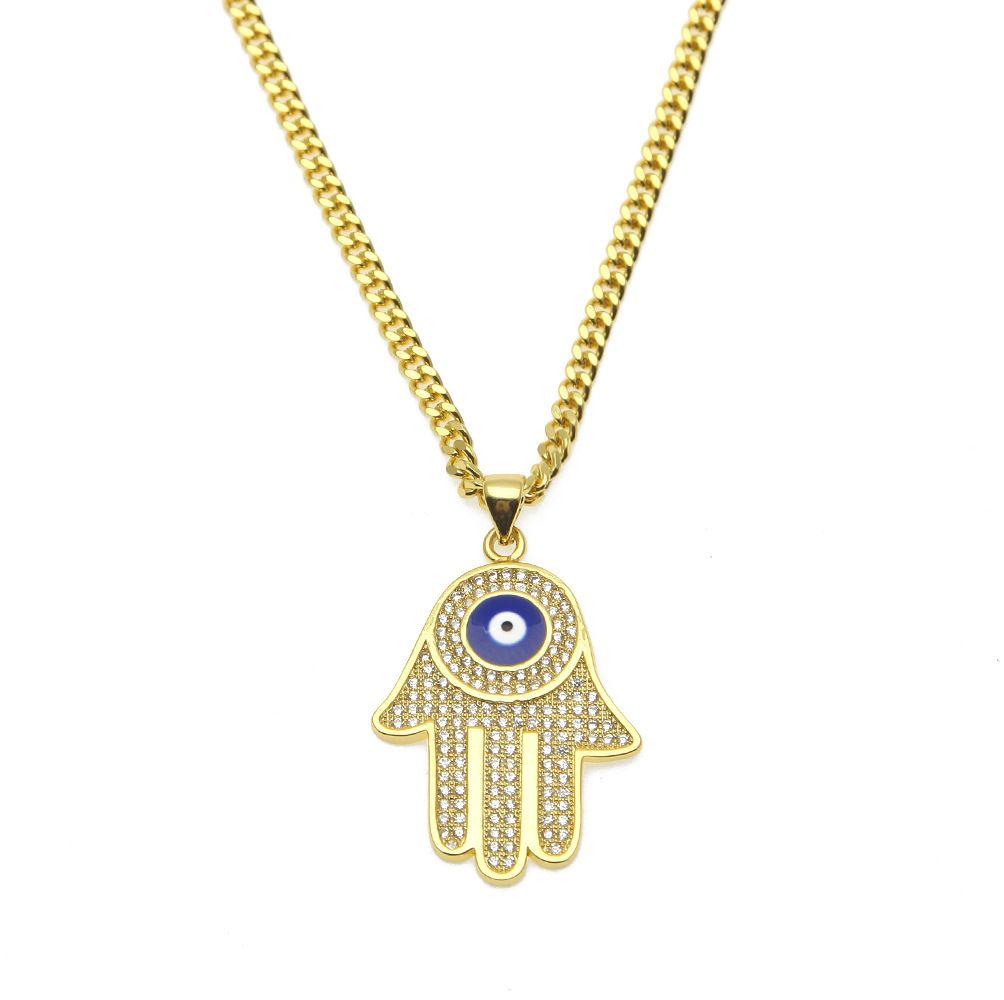 Wholesale Hip Hop Men S Blue Evil Eye Pendant Hamsa Hand Of Fatima Charm  Gold Long Cuban Chains For Women Rapper Hiphop Jewelry Small Pendant  Necklaces ... 955c459f3