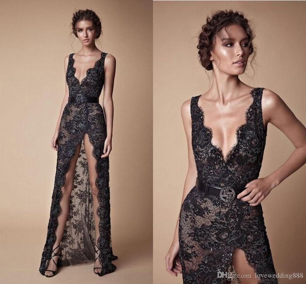 Modern Sexy Black Lace Beaded Split Prom Party Dresses 2018 Fashion V-neck Sexy Full length Berta Evening Occasion Gowns