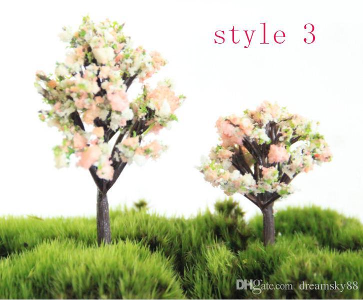 Green Willow Apple Tree Yellow Flower Tree Peach Tree Fairy Garden Miniatures Gnomes Terrarium Decor Resin Crafts Bonsai For Home Decor