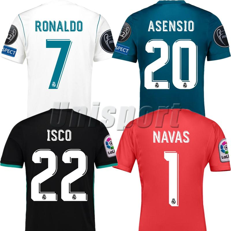 5e9ccd8a06b7c 2017/18 Real Madrid Champions League Soccer Jerseys Ronaldo Isco ...