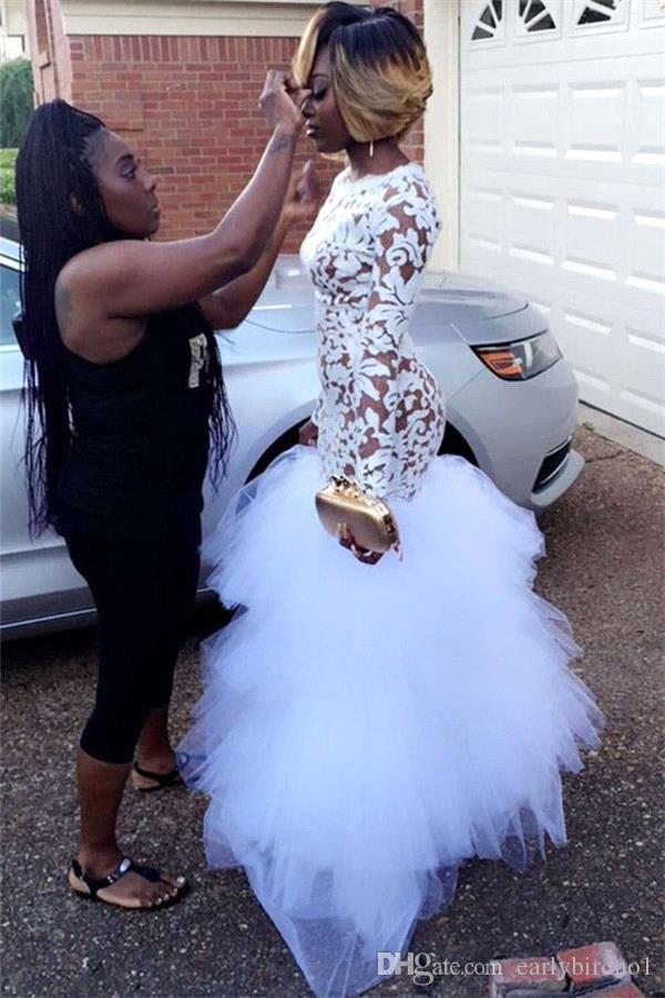 2018 sirena blanca africana vestidos de fiesta de encaje para niñas negras mangas largas con volantes de tul hasta el suelo más el tamaño de la noche vestidos de baile Vestidos