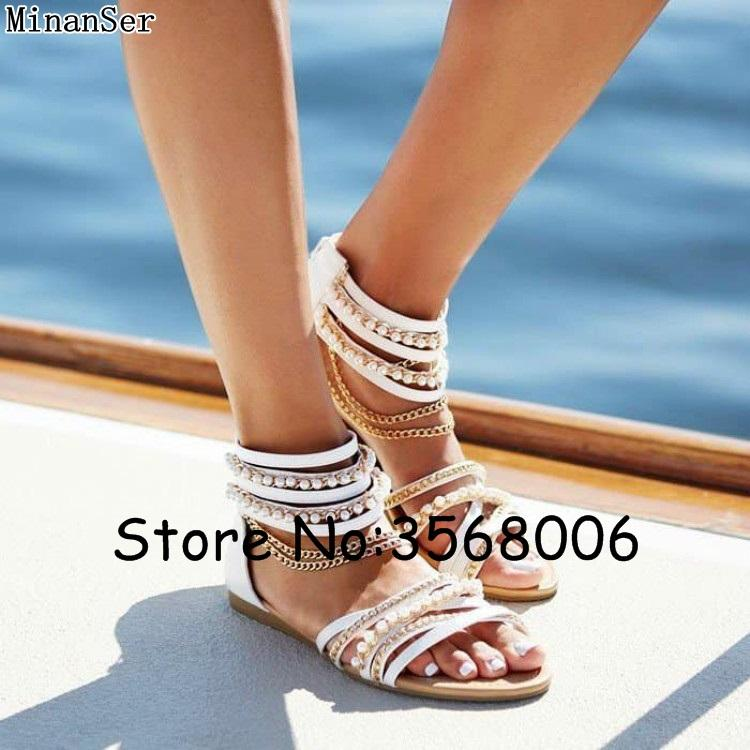 Metal Chain Pearl Flats Sandals Casual Bohemia Designed Ankle Wrap Leisure  Woman Sandals Summer Gladiator Beach Shoes Hot Sale Nude Shoes High Heel  Shoes ...