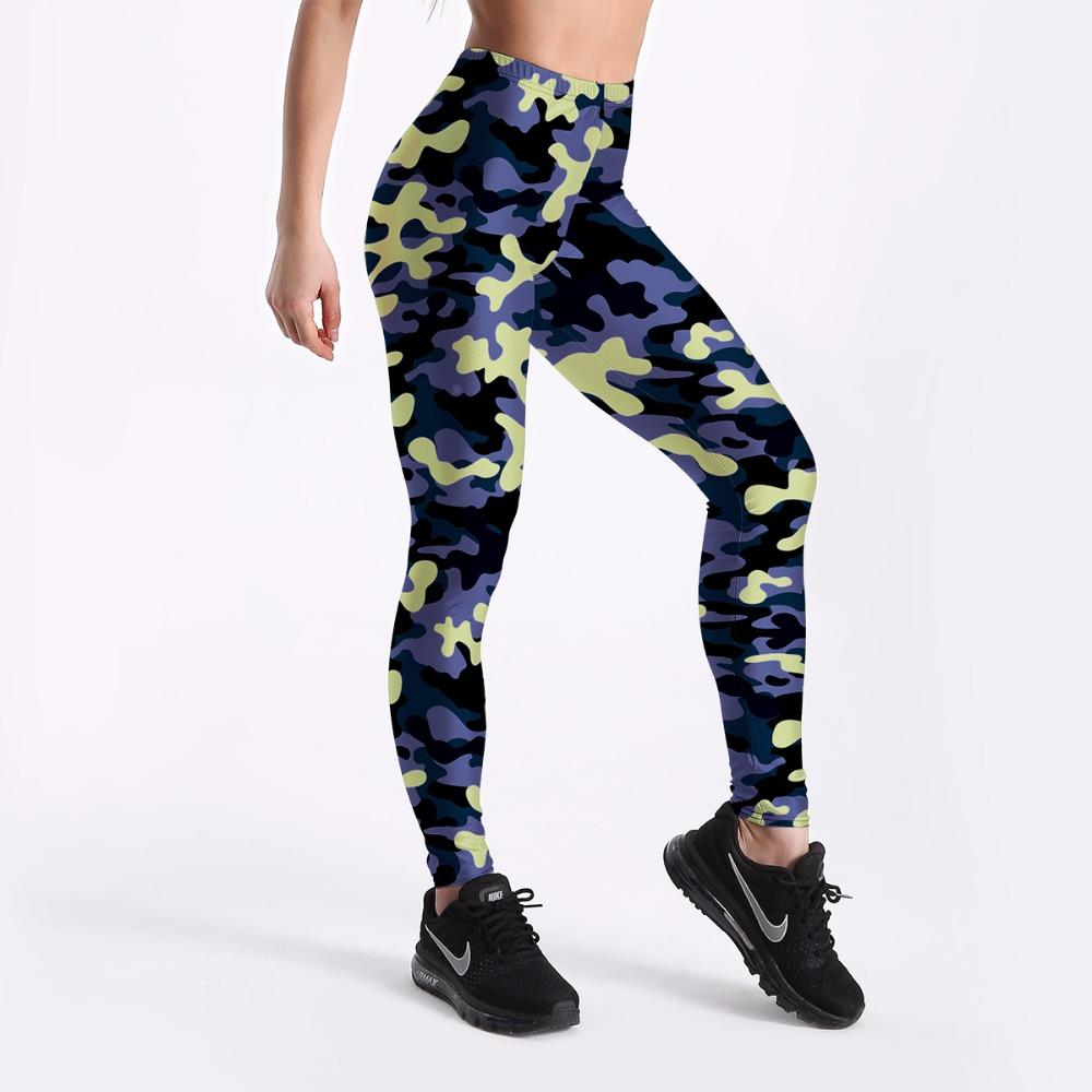 91eef0ffec S To 4xL Blue Camouflage Women Casual leggings European Style Picture Print  Workout Full Length Trousers 3 Patterns