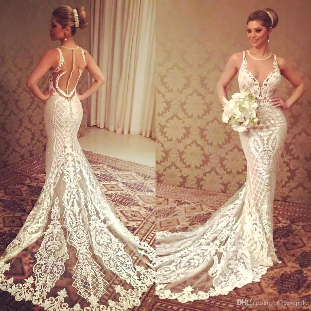 Designer Sheer Mermaid Wedding Dresses 2018 Sleeveless Lace ...