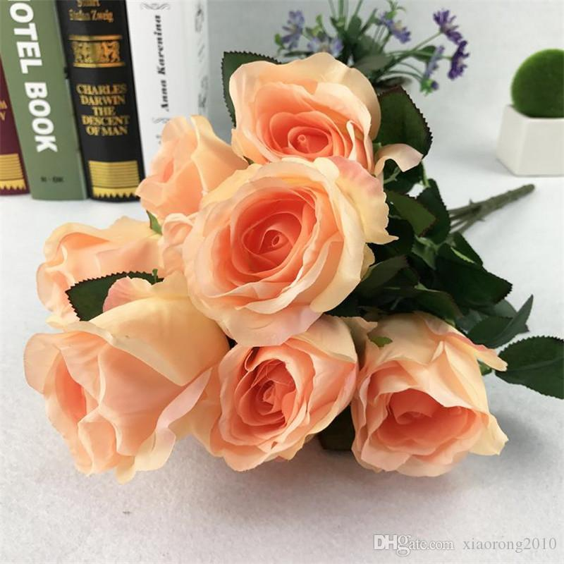 European Rose Bunch (10 heads/piece) Simulation Roses for DIY Wedding Bridal Bouquet Home Showcase Decorative Artificial Flowers