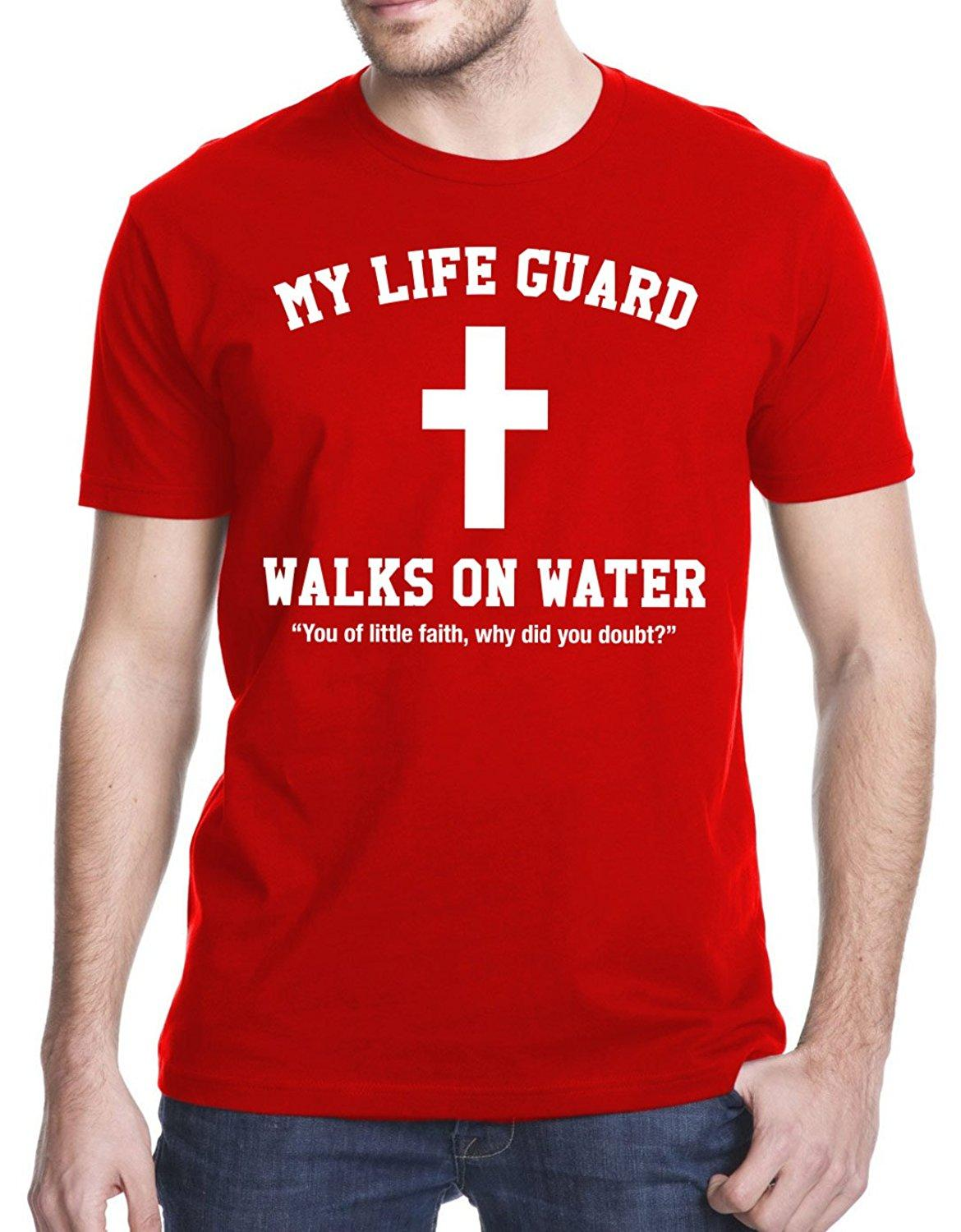 0f4571fa42a Wholesale Discount My Lifeguard Walks On Water Jesus Christian T Shirt  Online Shopping Tee Shirts Crazy T Shirts For Men From Lontimestore