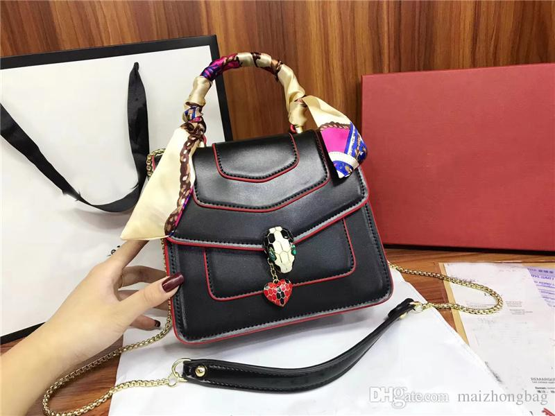 34f362db2370 New Fashion Women Designer Handbags Genuine Cow Leather Shoulder Rivert  Bags Classical Snake Chain Scarves Bag Luxury Famous Brand Bags Handbag  Wholesale ...