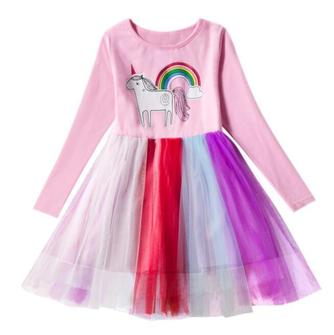 Baby Girls Unicorn Dress Children Long Sleeve Rainbow Tulle Princess Dresses  Cartoon Spring Autumn Boutique Unicorn Clothes KKA6303 UK 2019 From  B2b baby 29997d0700