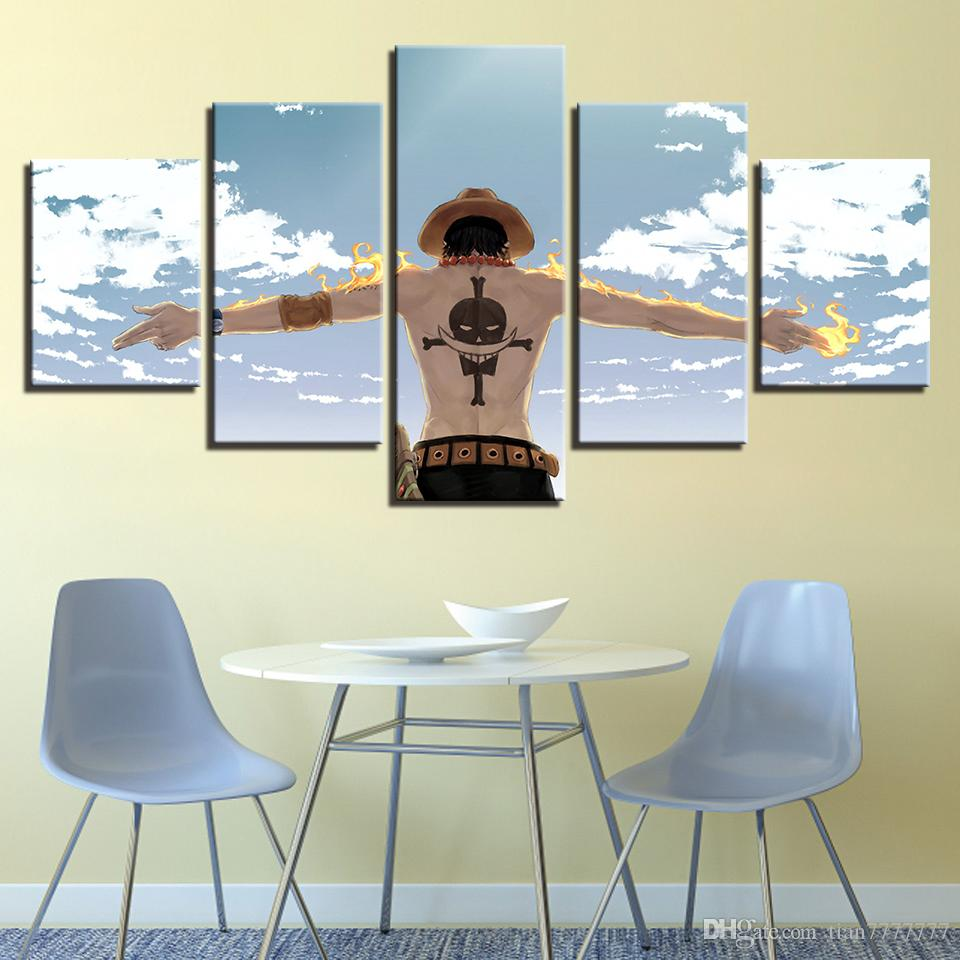 New Anime One Piece Luffy Painting 5 Panel No Frame HD Print Modular Picture For Living Room Home Wall Decor Poster