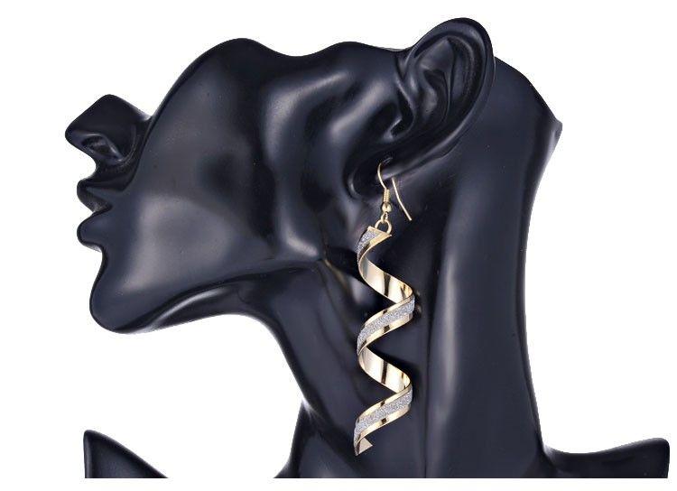 패션 펑크 여성 트위스트 나선형 귀걸이 레이디 소녀 매달려 귀걸이 매력 쥬얼리 발렌타인 데이 선물 실버 골드 블랙 3 색