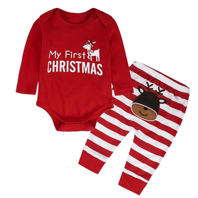 7440d6305 Christmas Baby Rompers Pants Sets Xmas Letters Reindeer Jumpsuits ...
