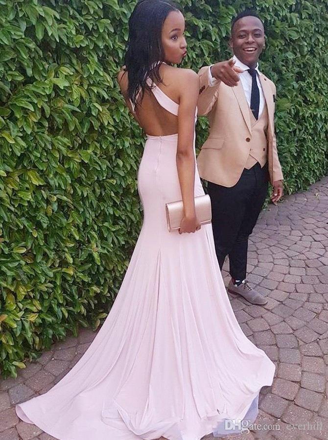2018 Prom Kleider Mermaid Split lange formale Party Abendkleider hellrosa Sexy Backless afrikanischen Prom Dinner Kleider für schwarze Mädchen