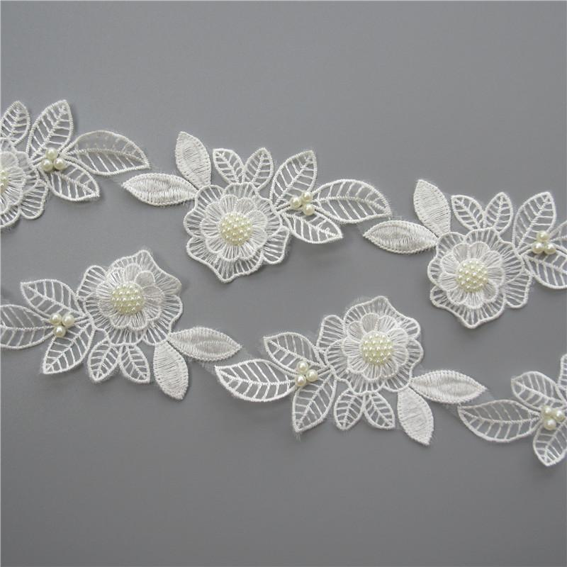 White Pearl Beaded Flower Leaf Embroidered Lace Trim Ribbon Fabric Handmade Sewing Craft For Costume Hat Decoration
