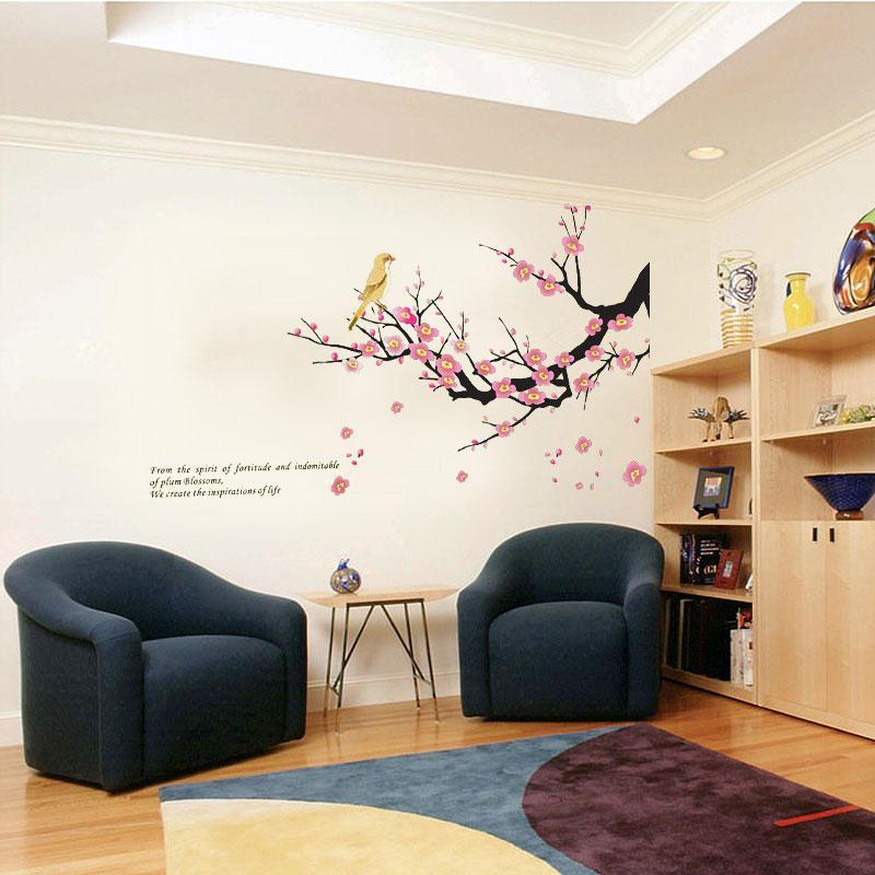 Bird Sticker DIY Decal Plum Tree Branches Love Birds Wall Bedroom Art Home Decor High Quality Adesivo De Parede Poster For Walls