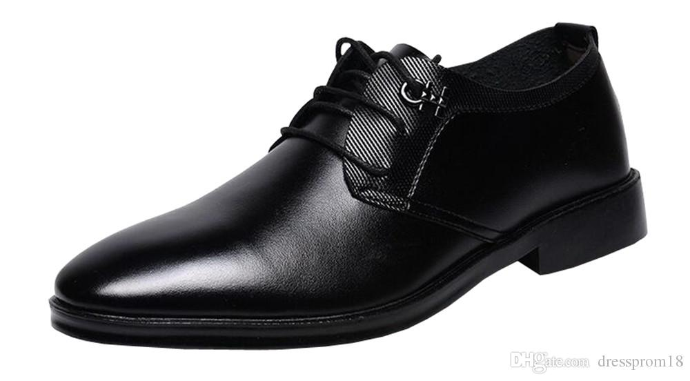 Mens Black Lace Up Plain Toe Business Formal Dress Shoes Leather