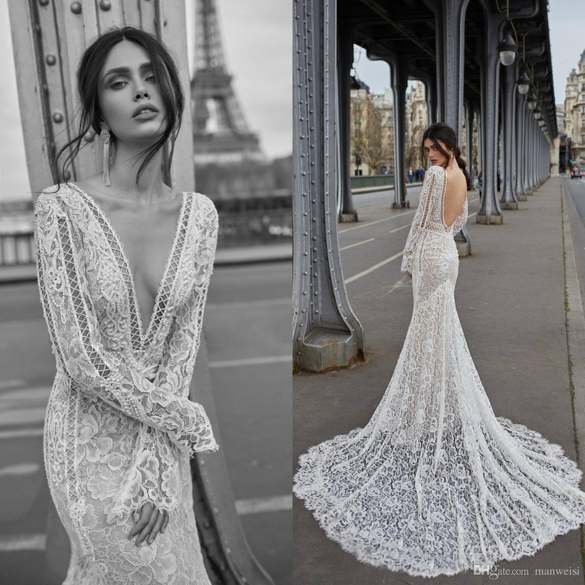 ecab9d9f4d Julie Vino 2019 Mermaid Wedding Dresses Sexy Long Sleeves Bridal Gowns Full  Lace Appliqued Deep V Neck Backless Wedding Dress Mermaid Wedding Dress  Simple ...