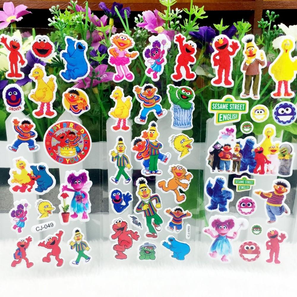 10 sheets sesame street puffy bubble stickers cartoon waterpoof diy toys for children kids boy girls school prize cheap wall murals and decals cheap wall
