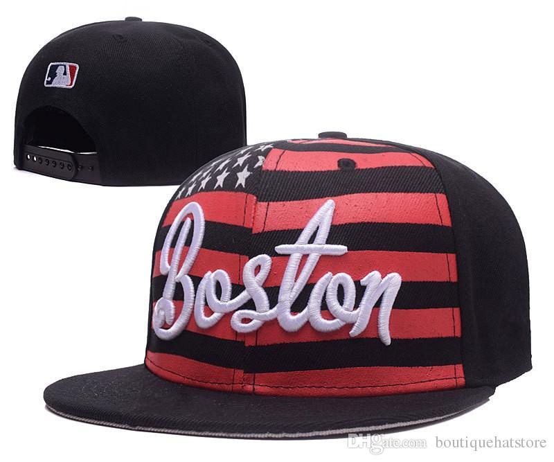 Compre 2018 Nueva Llegada Red Sox Snapback Sombreros Básicos En Color Negro  Imprimir Ee. Uu. Bandera Ajustable Caps Marcas Barato Verano Bones Chapeu A  ... ce862b94ff9