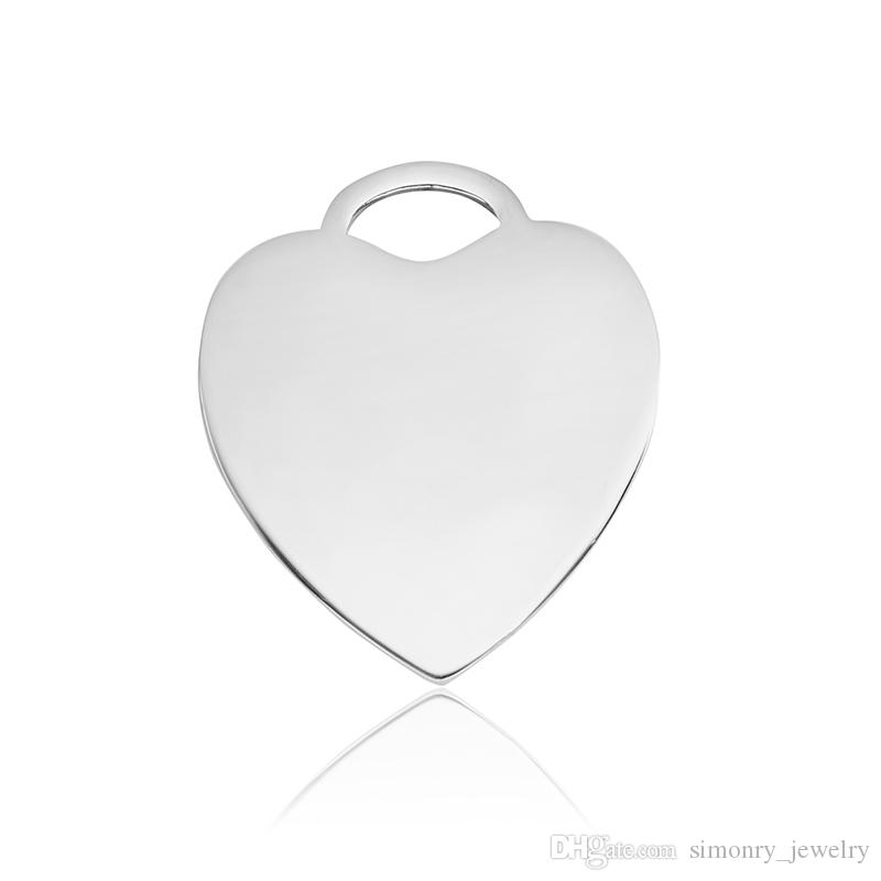 Heart Tags Stainless Steel Charms Pendant Necklaces and Keychains Jewelry Making DIY Dog Tags Silver wholesale