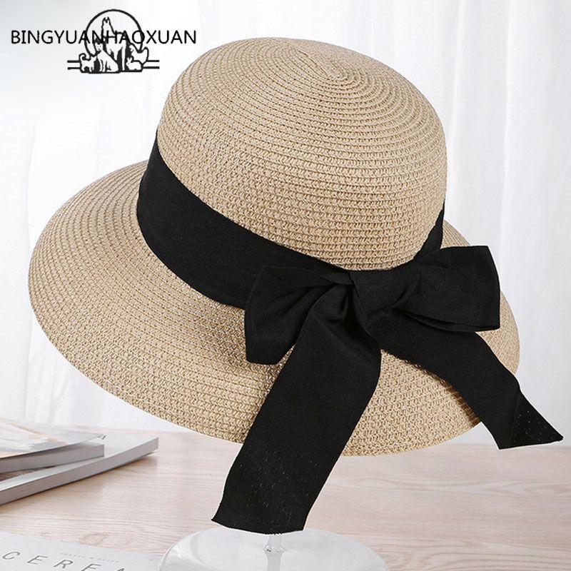 BINGYUANHAOXUAN Women Summer Fashion Hats 2018 Straw Beach Sun Bonnet Wide  BRIM Floppy Cloche Sun Hat Holiday Elegant Style Visor Hats Boater Hat From  ... 0d5150ea9a1
