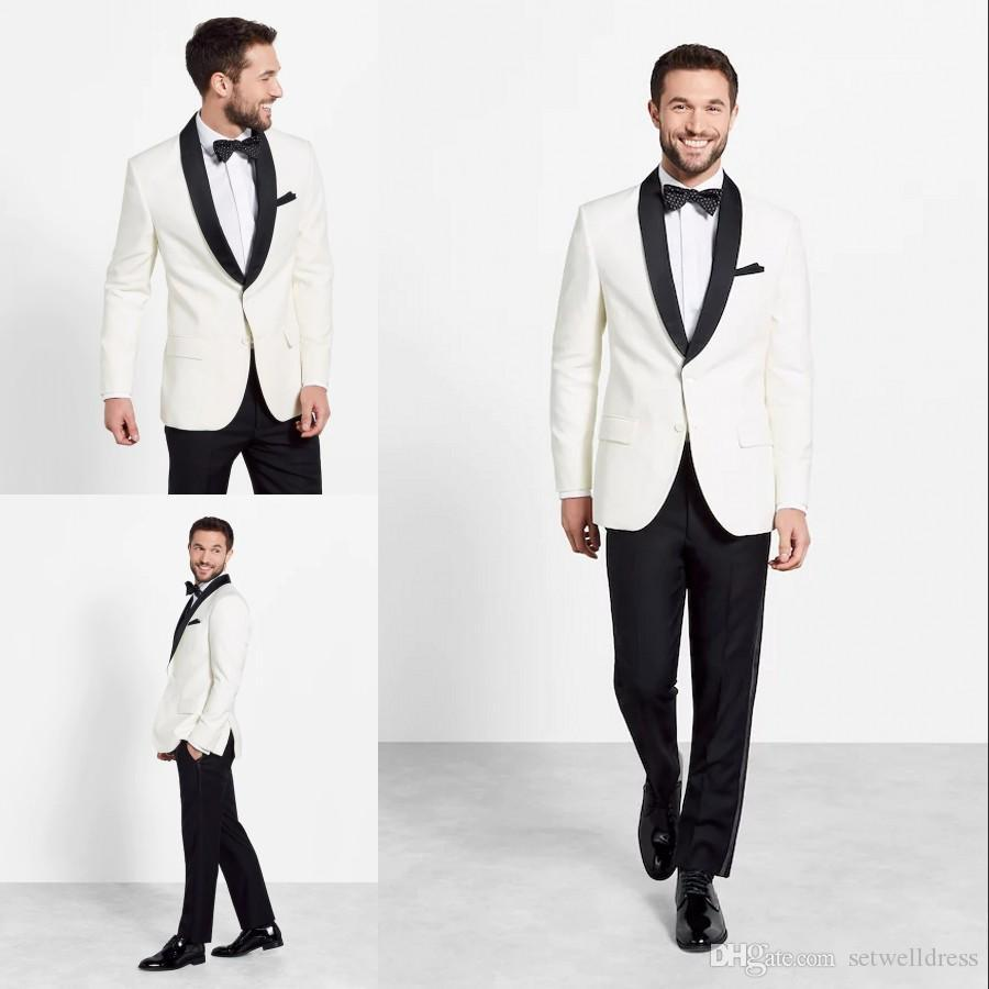 Custom Made Cheap Ivory Wedding Suits For Men 2018 Slim Fit Grooms Tuxedos Two Pieces Men Party Suits Jacket+Pants+Tie