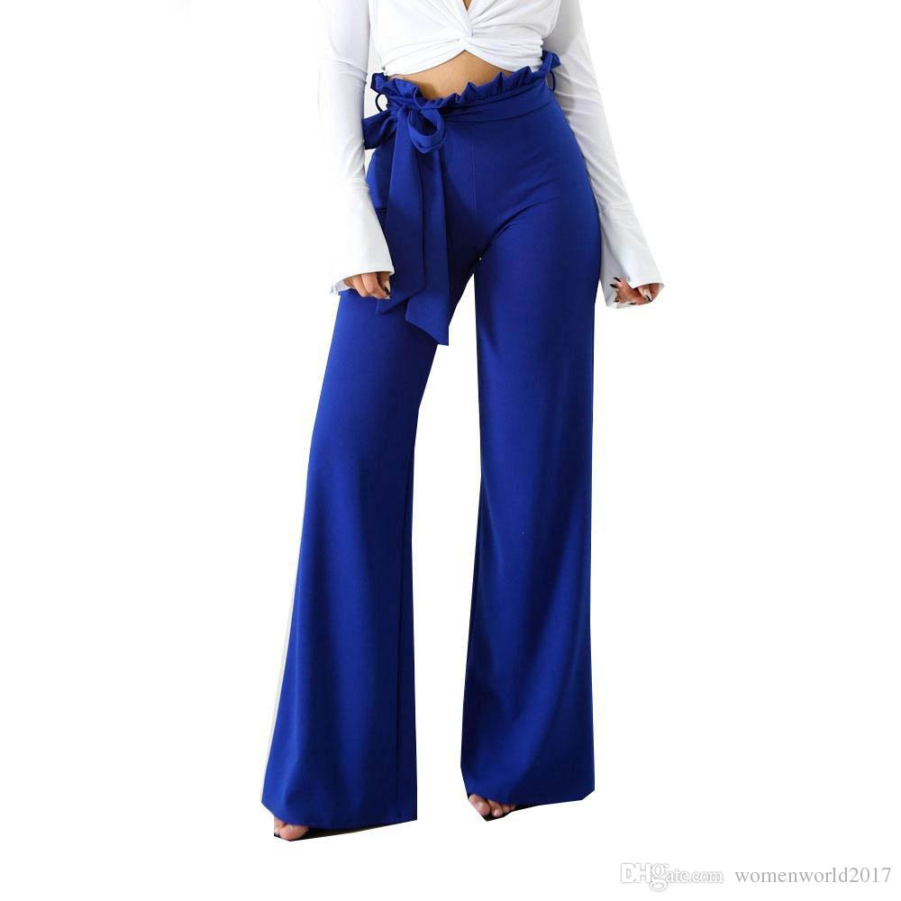 Compre Vendaje Pantalones Anchos De Pierna 2018 Mujeres Verano Cintura Alta  Azul Rojo Verde Negro Blanco Slash Fiesta Club Pantalones Largos Pantalones  A ... fe4c4287bf97