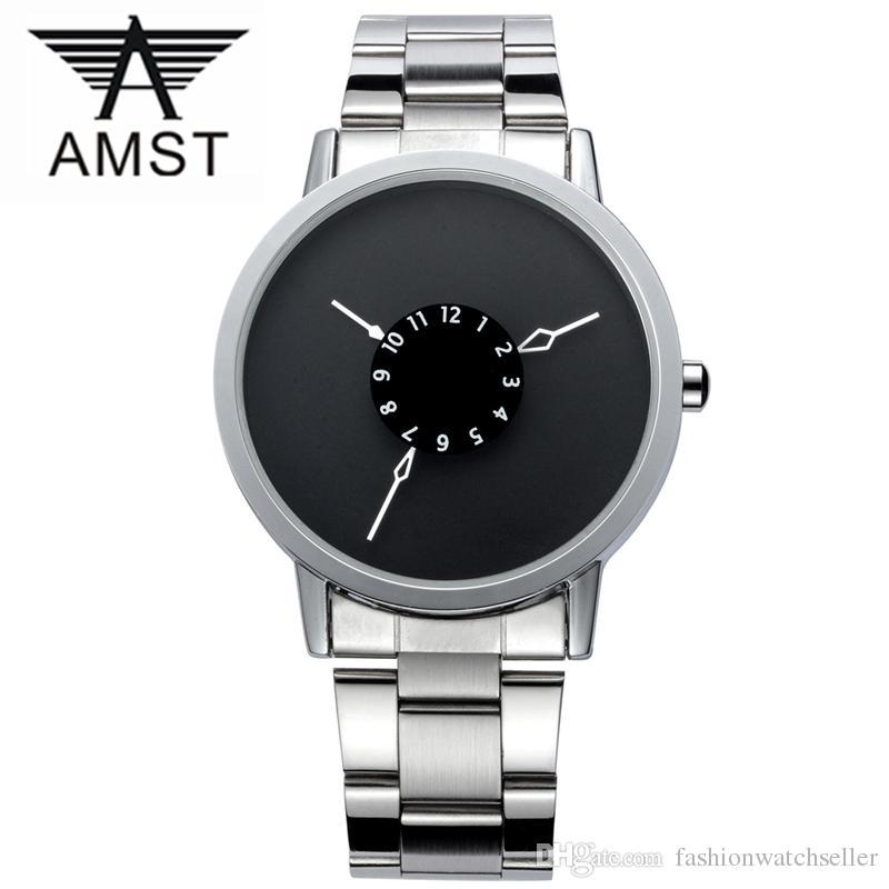 e595ac7a8a2 Compre AMST Mens Relógios Top Marca De Luxo Famoso Relógios De Pulso Homens Relógios  Relógio Masculino De Quartzo Relógio De Pulso Preto Relógios De Pulso ...